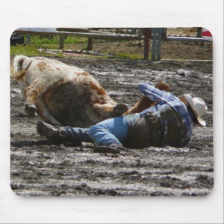 Rodeo Cowboy Mud Wrestling Mouse Pad