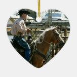 Rodeo Cowboy on Horseback Christmas Tree Ornaments