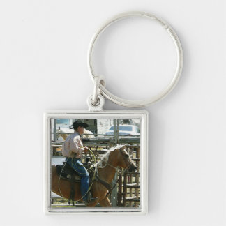 Rodeo Cowboy on Horseback Keychain