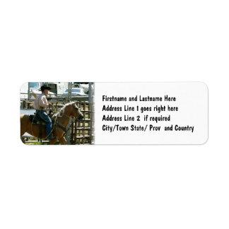 Rodeo Cowboy on Horseback Label