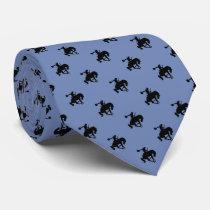 Rodeo Cowboy Pattern   Blue Grey Neck Tie