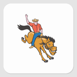 Rodeo Cowboy Riding Bucking Bronco Cartoon Stickers