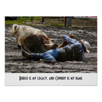 Rodeo Cowboy Roping in the Mud Poster