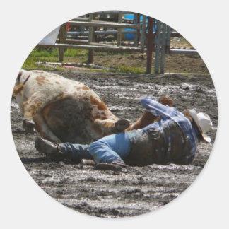 Rodeo Cowboy Steer Wrestling Classic Round Sticker