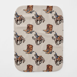 Rodeo Cowboy, Western Boots, Horse, Country Burp Cloth