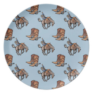Rodeo Cowboy, Western Boots, Horse, Country Dinner Plate