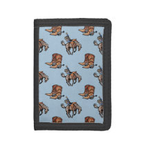 Rodeo Cowboy, Western Boots, Horse, Country Tri-fold Wallet