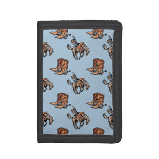 Rodeo Cowboy, Western Boots, Horse, Country Trifold Wallets