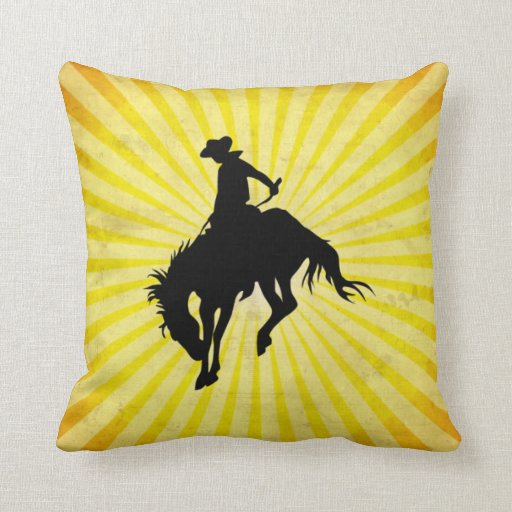 Rodeo Cowboy; yellow Pillow