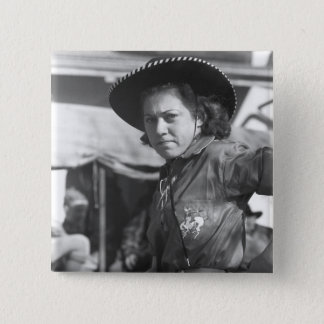 Rodeo Cowgirl: 1940 Pinback Button