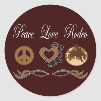 Rodeo del amor de la paz pegatinas redondas