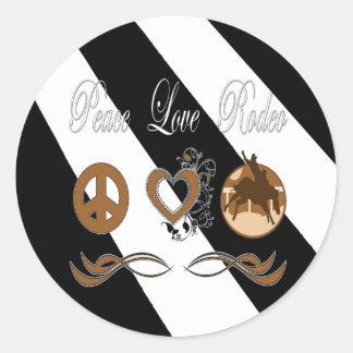 Rodeo del amor de la paz etiquetas redondas