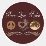 Rodeo del amor de la paz pegatina redonda