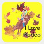 Rodeo del amor del ~ I del jinete de Bull Pegatina Cuadradas Personalizadas