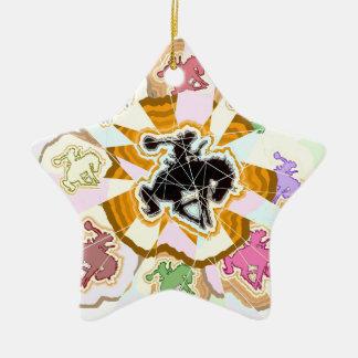 Rodeo del arco iris adorno de cerámica en forma de estrella