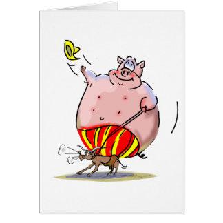 Rodeo del cerdo tarjeta de felicitación
