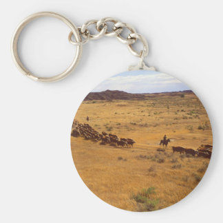 Rodeo del ganado llavero redondo tipo pin