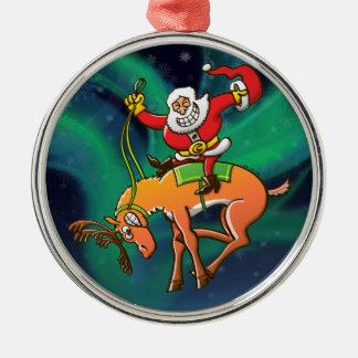 Rodeo del navidad de Santa Adorno Redondo Plateado