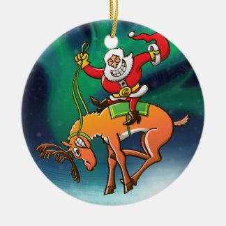 Rodeo del navidad de Santa Adorno Redondo De Cerámica