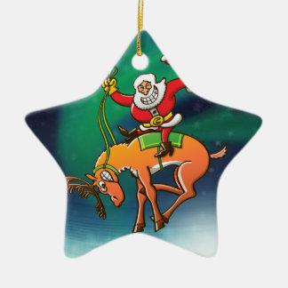 Rodeo del navidad de Santa Adorno De Cerámica En Forma De Estrella