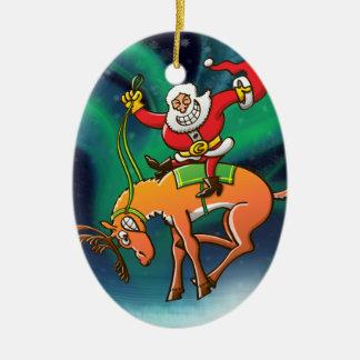 Rodeo del navidad de Santa Adorno Ovalado De Cerámica