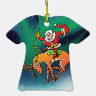 Rodeo del navidad de Santa Adorno De Cerámica En Forma De Camiseta
