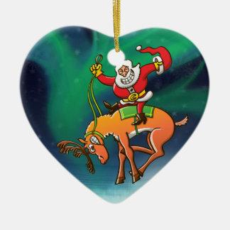 Rodeo del navidad de Santa Adorno De Cerámica En Forma De Corazón