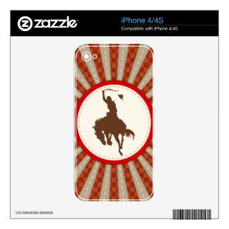 Rodeo del vaquero rojo marrón iPhone 4S skins