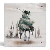 Rodeo - double exposure  - cowboy - rodeo cowboy 3 ring binder