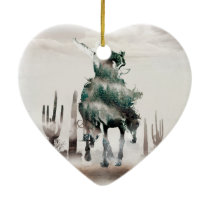 Rodeo - double exposure  - cowboy - rodeo cowboy ceramic ornament