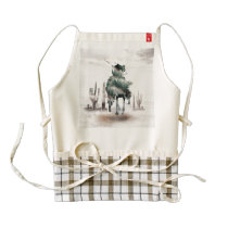 Rodeo - double exposure  - cowboy - rodeo cowboy zazzle HEART apron