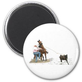 Rodeo - el atar del becerro; El Roping del becerro Imán Redondo 5 Cm