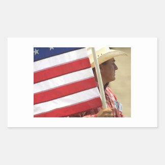 Rodeo - jinete de la bandera pegatina rectangular