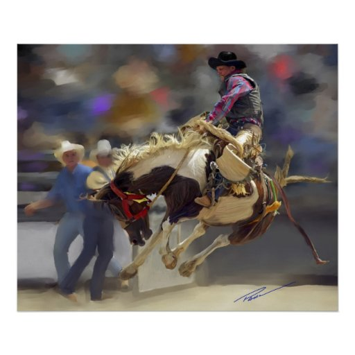 Rodeo - jinete del Bronc de la silla de montar - m Póster