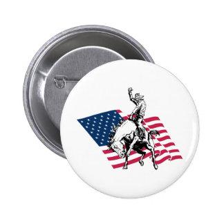 Rodeo los E.E.U.U. - América, caballo del vaquero  Pin Redondo 5 Cm