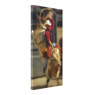 Rodeo - montar a caballo de Bull - PBR - Ryder roj Lona Envuelta Para Galerías
