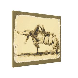 Rodeo - montar a caballo del Bronc de la silla de  Lienzo Envuelto Para Galerías
