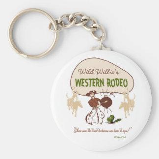 'Rodeo occidental retro Llavero Redondo Tipo Pin