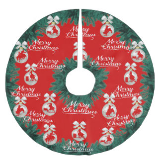 Rodeo Ornaments Merry Christmas Red Tree Skirt
