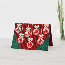 Rodeo Ornaments On Red Holiday Greeting Card