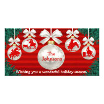 Rodeo Ornaments Wreath Border Red Background Card