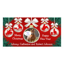 Rodeo Ornaments Wreath Border Red Background Photo Card