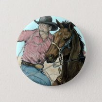 RODEO Partners, Cowboy Steer Wrestling Button