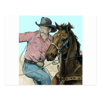 RODEO Partners, Cowboy Steer Wrestling Postcard