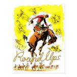 Rodeo retro del vaquero del rodeo del vintage postal