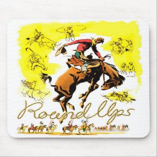 Rodeo retro del vaquero del rodeo del vintage alfombrillas de ratones