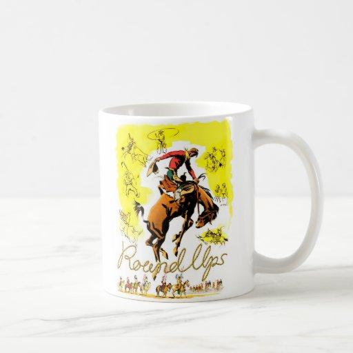 Rodeo retro del vaquero del rodeo del vintage taza clásica