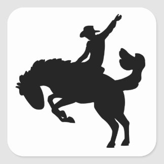 Rodeo Rider on Horseback Square Stickers