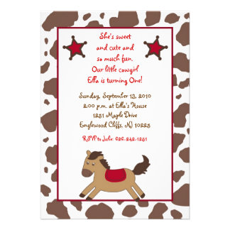 Rodeo Round Up Cowgirl Birthday Invitations