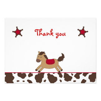 Rodeo Round Up Cowgirl Flat Thank You Note Cards Custom Invitations